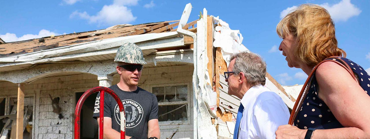 Mike and Fran DeWine tour storm damaged parts of Ohio